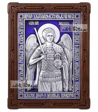 Архангел Михаил, серебряная икона с эмалью, артикул 13170