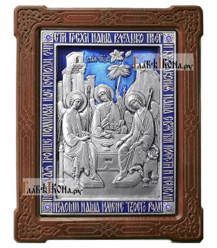Пресвятая Троица, серебряная икона с эмалью, артикул 13169