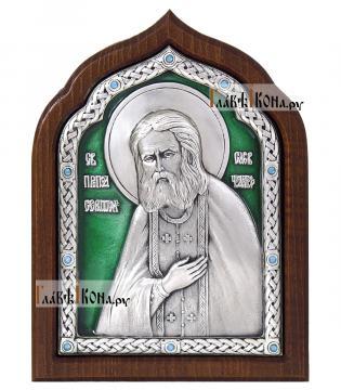 Преподобный Серафим Саровский, серебряная икона с эмалью, артикул 13166