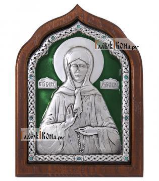 Сереребряная икона Матроны Московской с эмалью, артикул 13163