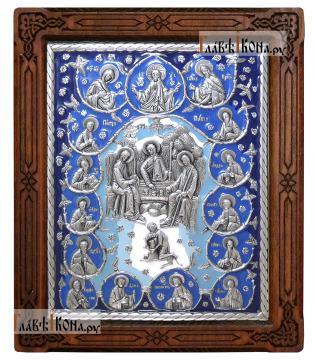 Серебряная икона Троицы с апостолами, артикул 13209 - синяя эмаль