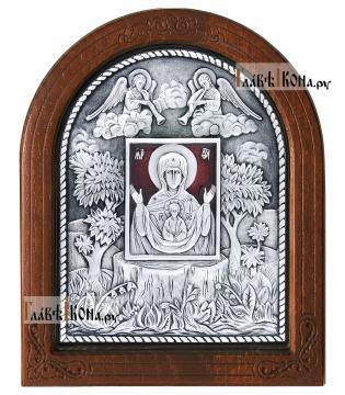 """Серебряная икона Знамение """"Курская-Коренная"""", покрытая эмалью, артикул 13156"""