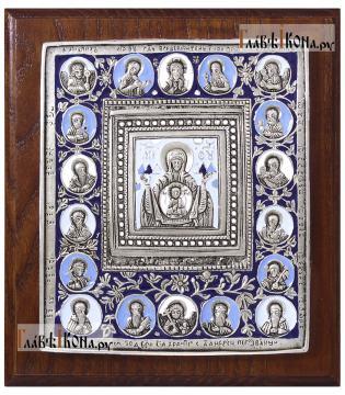 """еребряная икона Божией Матери """"Знамение"""", покрытая эмалью, артикул 13151"""