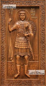 Димитрий Солунский (старинный стиль) - резная икона, артикул 25034-01