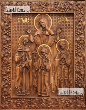 Вера, Надежда, Любовь и мать их Софья - фотография резной иконы, артикул 25044-01