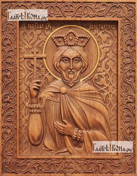 Константин равноапостольный - фотография резной иконы, артикул 25052-01