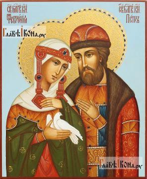 Благоверные Петр и Феврония, писананя икона, с золочением и чеканкой на нимбах