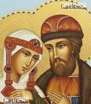 Благоверные Петр и Феврония, писананя икона, с золочением и чеканкой на нимбах - лики святых