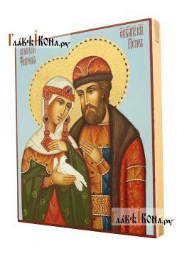 Благоверные Петр и Феврония, писананя икона, с золочением и чеканкой на нимбах - вид сбоку