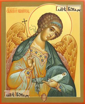 Фотография писаной иконы Ангела Хранителя с младенцем, артикул 718
