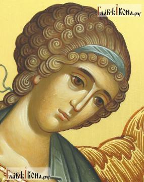 Фотография писаной иконы Ангела Хранителя с младенцем, артикул 718 - лик образа