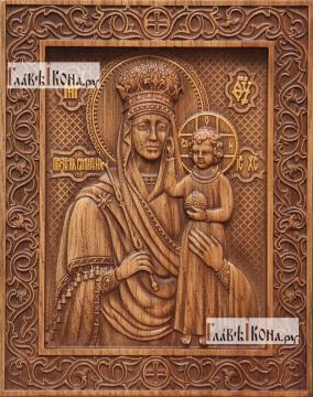 Призри на смирение Божия Матерь - фотография резной иконы, артикул 26005-01