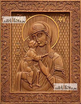 Феодоровская Божия Матерь - фотография резной иконы, артикул 26011-01