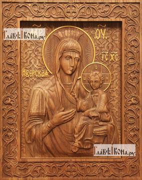 Иверская Божия Матерь - фотография резной иконы, артикул 26013-01