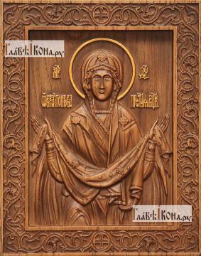 Покров Пресвятой Богородицы - фотография резной иконы, артикул 26020-02