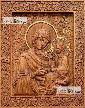 Тихвинская Божия Матерь - фотография резной иконы, артикул 26021-01