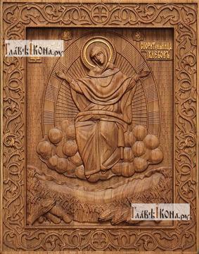 Спорительница хлебов Божия Матерь - фотография резной иконы, артикул 26028-02