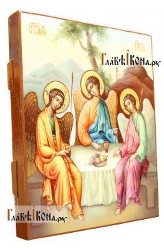 Фотография иконы Троицы, написанной маслом в живописнмо стиле, артикул 909 - вид сбоку