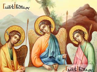 Фотография иконы Троицы, написанной маслом в живописнмо стиле, артикул 909 - детали