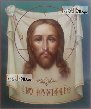 Рукописная икона Спаса Нерукотворного (живописный стиль, масло)