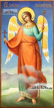 Икона Ангела Хранителя (ростовое изображение), синий фон, артикул 712