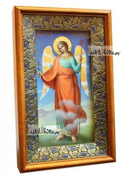 Икона Ангела Хранителя (ростовое изображение), синий фон, вид в киоте сбоку