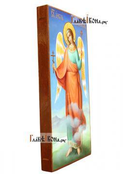 Икона Ангела Хранителя (ростовое изображение), синий фон, вид сбоку