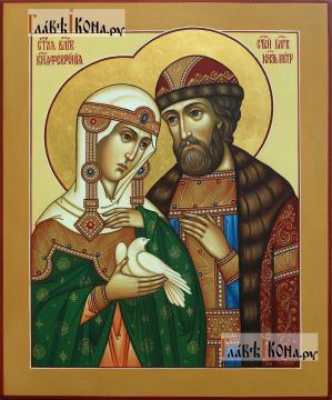 Святые Петр и Феврония, держащие белого голубя, писаная икона, артикул 825