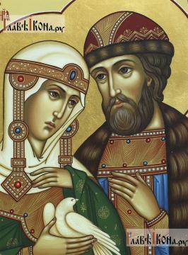 Святые Петр и Феврония, держащие белого голубя, писаная икона, артикул 825 - лики