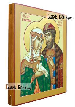 Святые Петр и Феврония, держащие белого голубя, писаная икона, артикул 825 - вид сбоку