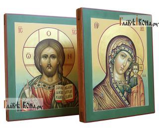 Венчальная пара с Казанской (с зелеными полями), артикул 352 - вид икон сбоку