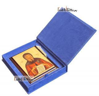 Антоний Великий, икона на металле, подарочная - вид в футляре