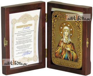 Мученица Эмилия, икона подарочная в футляре, 10х15 см - вид в комлекте
