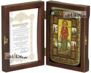 Ксения Петербургская (с клеймами), икона подарочная в футляре, 10х15 см - вид в комплекте