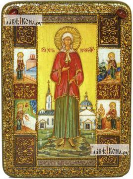 Ксения Петербургская (ростовая, с житием), аналойная подарочная икона