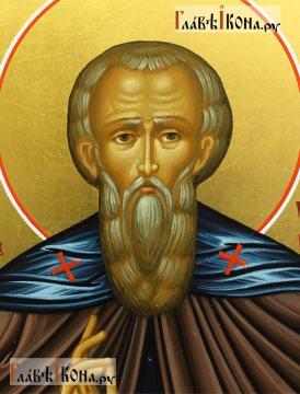Святой Стефан Махрищский, рукописная именная икона - детали образа