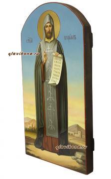 Кирилл равноапостольный, мерная икона (арочная) - вид сбоку