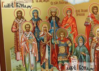 Семейная икона с пятнадцатью святыми покровителями семьи - святые слева