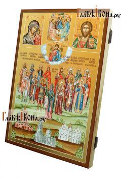Семейная икона с пятнадцатью святыми покровителями семьи - вид сбоку