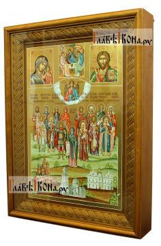 Семейная икона с пятнадцатью святыми покровителями семьи - вид в киоте