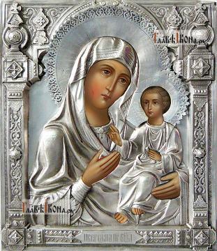 Иверская, икона с серебряном окладе на доске