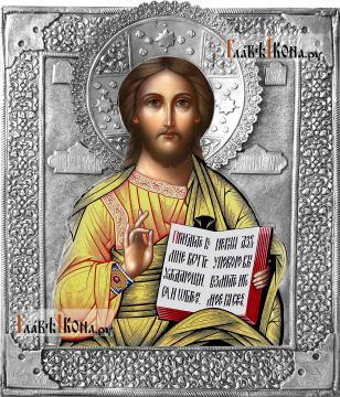 Спаситель, икона с серебряном окладе на доске