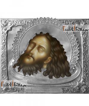 Усекновение Иоанна Предтечи, икона с серебряном окладе на доске