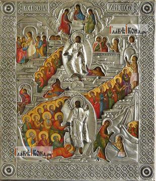 Воскреcение Христово, икона с серебряном окладе на доске