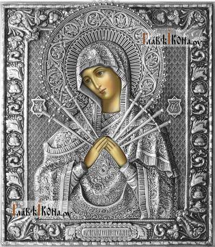 Семистрельная Божия Матерь, икона в полном серебряном окладе на доске