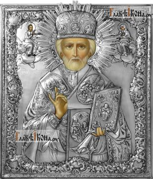 Николай Чудотворец (в митре), икона с серебряном окладе на доске