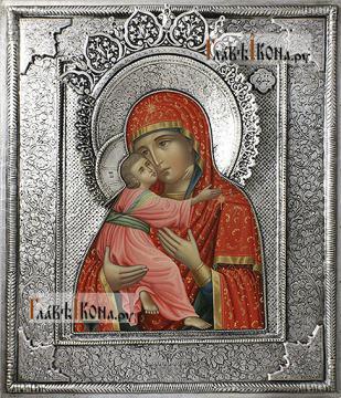 Владимирская, икона с серебряном окладе на доске