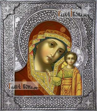 Казанская Божия Матерь, икона с серебряном окладе на доске
