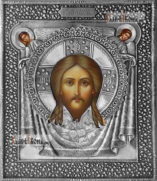 Спас Нерукотворный, икона с серебряном окладе на доске