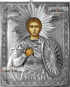 Дмитрий Солунский, икона с серебряном окладе на доске